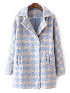 Houndstooth Lapel Collar Long Sleeves Coat - Light Blue Xl