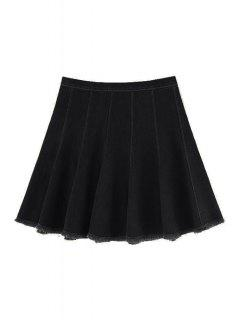 A Line Frayed Denim Skirt - Black Xs
