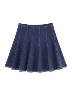 A Line Frayed Denim Skirt - Deep Blue M