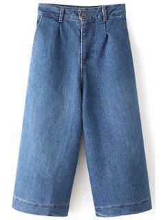 Wide Leg Bleach Wash Capri Jeans - Light Blue L