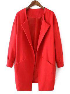 Solid Color Collarless Long Sleeves Thicken Coat - Red M