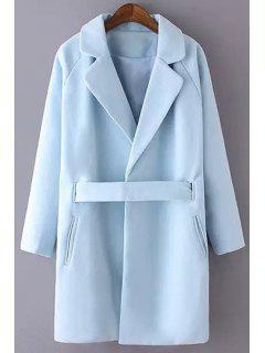 Lapel Collar Long Sleeves Solid Color Woolen Coat - Light Blue M