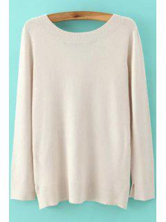 Langer Hülsen-niedrige Rückseiten-Pullover - Beige (weis) S