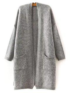 Gray White Spliced Collarless Long Sleeves Thicken Cardigan - Gray L