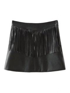 Tassels Spliced Black Faux Leather Skirt - Black S