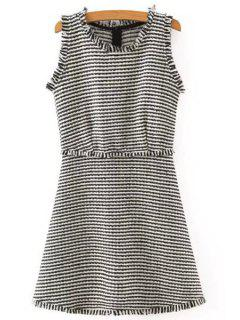 Striped Sleeveless Scoop Neck Dress - White And Black M