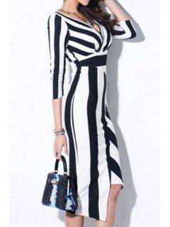 Striped Plunging Neck 3/4 Sleeve Dress - White And Black S