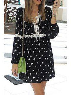 Print Lace Spliced V Neck Long Sleeve Dress - Black Xl