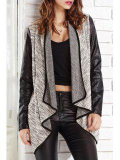 Faux Leather Spliced Turn Down Collar Coat - Black And Grey Xl
