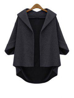 Batwing Sleeve Plus Size Cape Jacket - Black 2xl