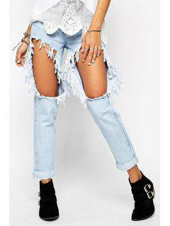 Straight Leg Broken Hole Jeans - Light Blue 27