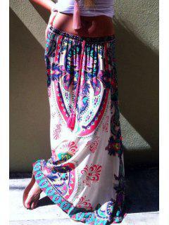 Printed Drawstring Design Long Skirt - White L