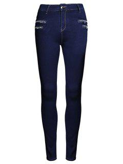 Pure Color High Waisted Zipper Jeans - Purplish Blue 44