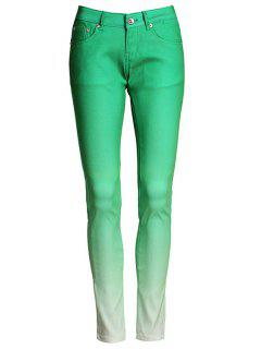Ombre Color Narrow Feet Pants - Green M