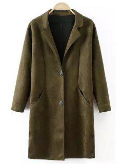 Lapel Pocket Design Suede Coat - Blackish Green L