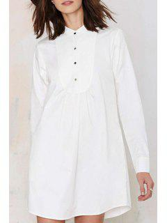 White Stand Neck Long Sleeve Shirt Dress - White L