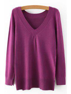 Pure Color V Neck Long Sleeve Jumper - Purple S