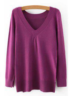 Pure Color V Neck Long Sleeve Jumper - Purple L