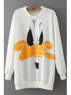 Cartoon Duck Print Long Sleeve Sweatshirt - White M