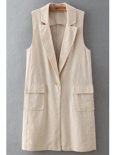 Pure Color Lapel Neck Waistcoat - Off-white
