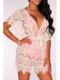 Short Sleeve Openwork Lace Hook Dress - White