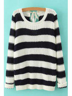 Striped Lace Up Long Sleeve Jumper - White And Black M