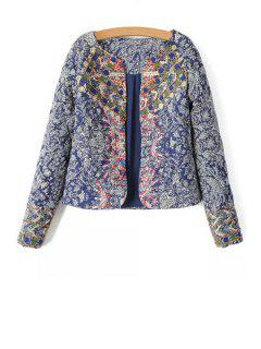 Retro Print Scoop Neck Long Sleeve Jacket - L