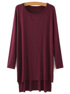 Side Slit Long Sleeves Solid Color Loose Fittng Dress - Claret M