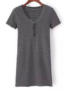 Striped Round Button Collar Solid Color Dress - White And Black M