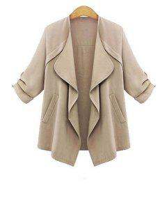 Rolled Sleeve Apricot Trench Coat - Apricot L