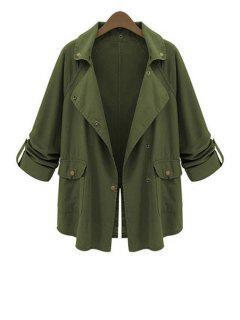 Lapel Big Pockets Green Trench Coat - Army Green Xl