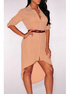 Single-Breasted High Low Shirt Dress - Light Pink