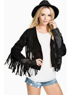 Tassels Suede Cropped Jacket - Black Xs