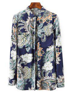 Vintage Print Shirt Neck Long Sleeve Shirt - S