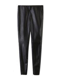 Pantalones Negros De Piel Estrecha De Pies Estrechos - Negro S