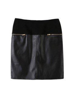 PU Leather Spliced High Waist Skirt - Black L