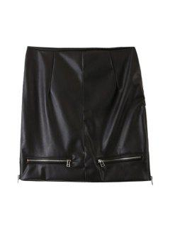 PU Leather Zipper High Waist Skirt - Black L