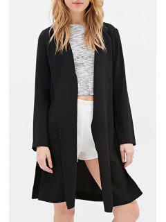Lapel Side Slit Black Blazer - Black Xl