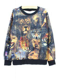 Long Sleeves Round Collar Animal Print Sweatshirt