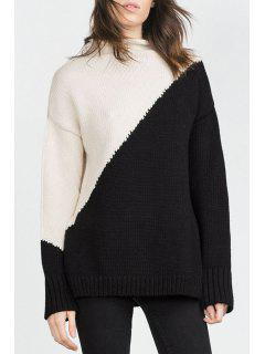 Color Block Turtle Neck Long Sleeve Jumper - White And Black