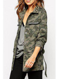 Camouflage Print Turn Down Collar Trench Coat - Camouflage Color Xl