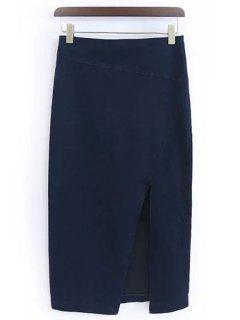 Solid Color Side Slit Skirt - Purplish Blue M