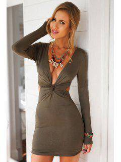 Plunging Neck Front Twist Dress - Army Green Xl
