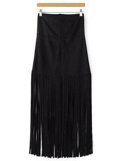 Tassels Spliced High Waisted Skirt - Black L