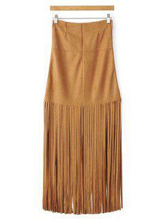 Tassels Spliced High Waisted Skirt - Khaki L