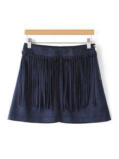 Tassels Spliced A Line Skirt - Purplish Blue M