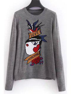 Cartoon Pattern Round Collar Long Sleeves Pullover Sweater - Gray