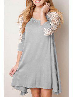 Lace Spliced A Line 3/4 Sleeve Dress - Gray Xl
