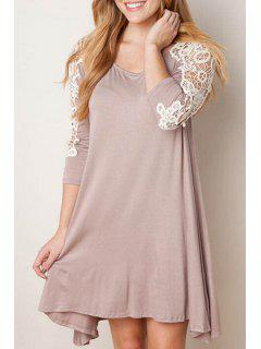 Lace Spliced A Line 3/4 Sleeve Dress - Khaki Xl