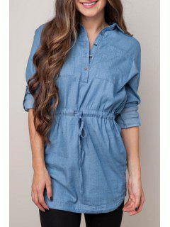 Denim Blue Turn Down Collar Long Sleeve Dress - Blue Xl